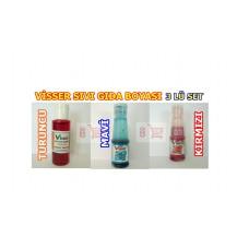 3 Adet Sıvı Gıda Boyası Visser Marka (Turuncu Mavi ve Kırmızı)