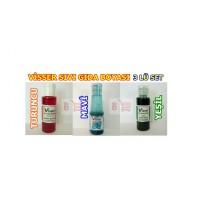3 Adet Sıvı Gıda Boyası Visser Marka (Yeşil Turuncu ve Mavi)