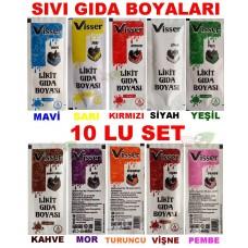 10 LU SET Sıvı Gıda Boyası 10x12 ML 10 Farklı Renk Boya