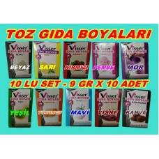 Toz Gıda Boyası Visser 10 LU Set 10 Farklı Renk