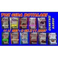 Toz Gıda Boyası Visser 11 Li Set 11 Farklı Renk