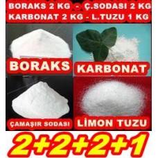 Boraks 2kg + Ç.Soda 2kg + Karbonat 2kg + Limon Tuzu 1Kg 2221