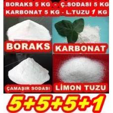 Boraks 5kg + Ç.Soda 5kg + Karbonat 5kg + Limon Tuzu 1Kg 5551
