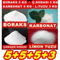 Boraks 5kg + Ç.Soda 5kg + Karbonat 5kg + Limon Tuzu 3Kg 5553