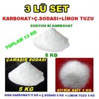 Çamaşı Sodası 5 Kg + Karbonat 5 Kg + Limon Tuzu Sitrik Asit 3 Kg