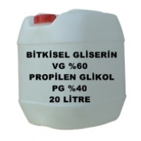 Bitkisel Gliserin (60) Ve Mono Propilen Glikol (40) Karışımı VG/PG - 60/40 LIK 20 Litre