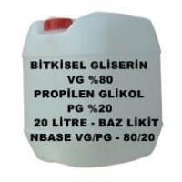 Bitkisel Gliserin (80) Ve Mono Propilen Glikol (20) Karışımı VG/PG - 80/20 Lik 20 LİTRE