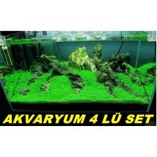 Bitkili Akvaryum Besinleri Toz 4Lü Set Pot - Fosfat - Nit - Demir